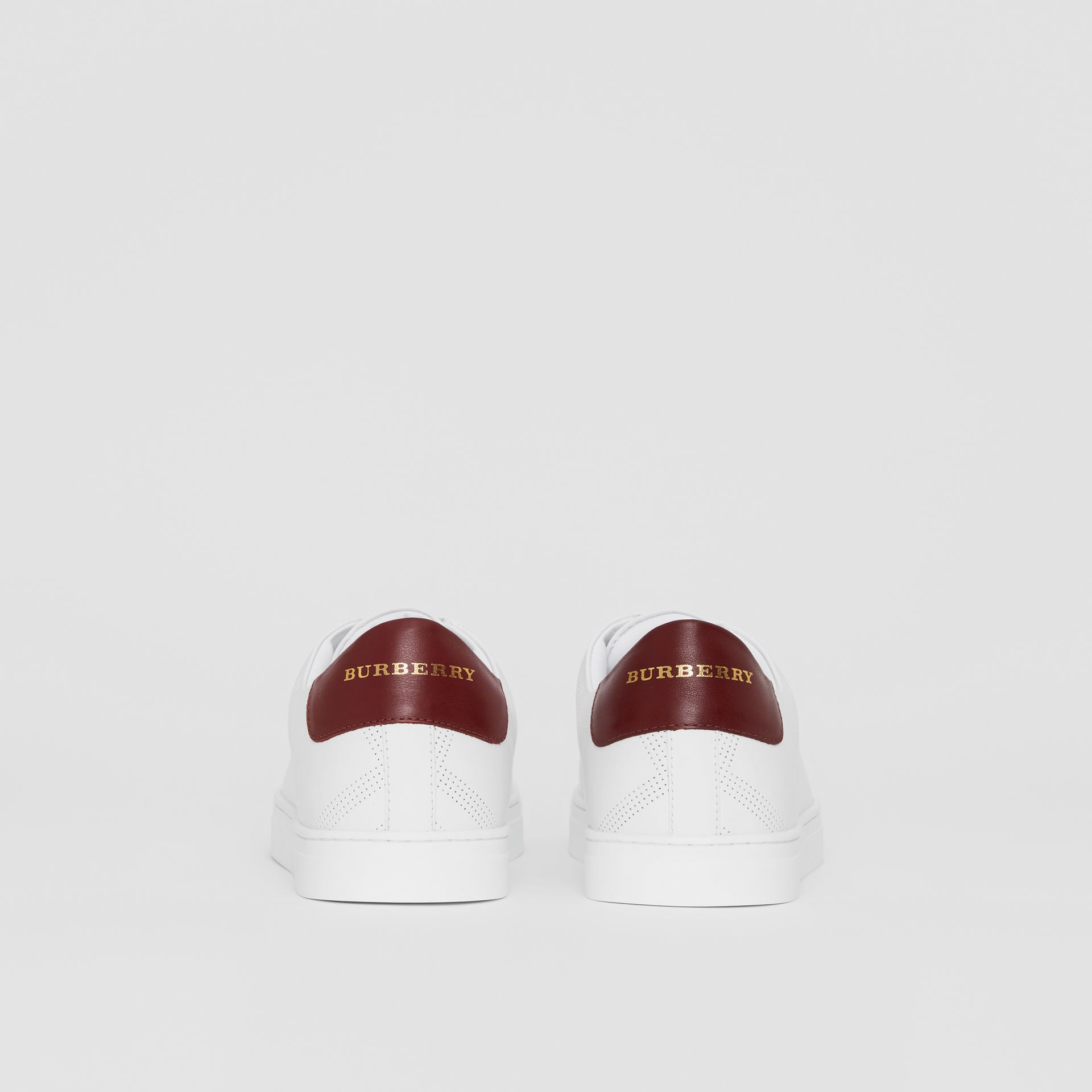 Perforated Check Leather Sneakers in Optic White - Men | Burberry Canada - gallery image 4