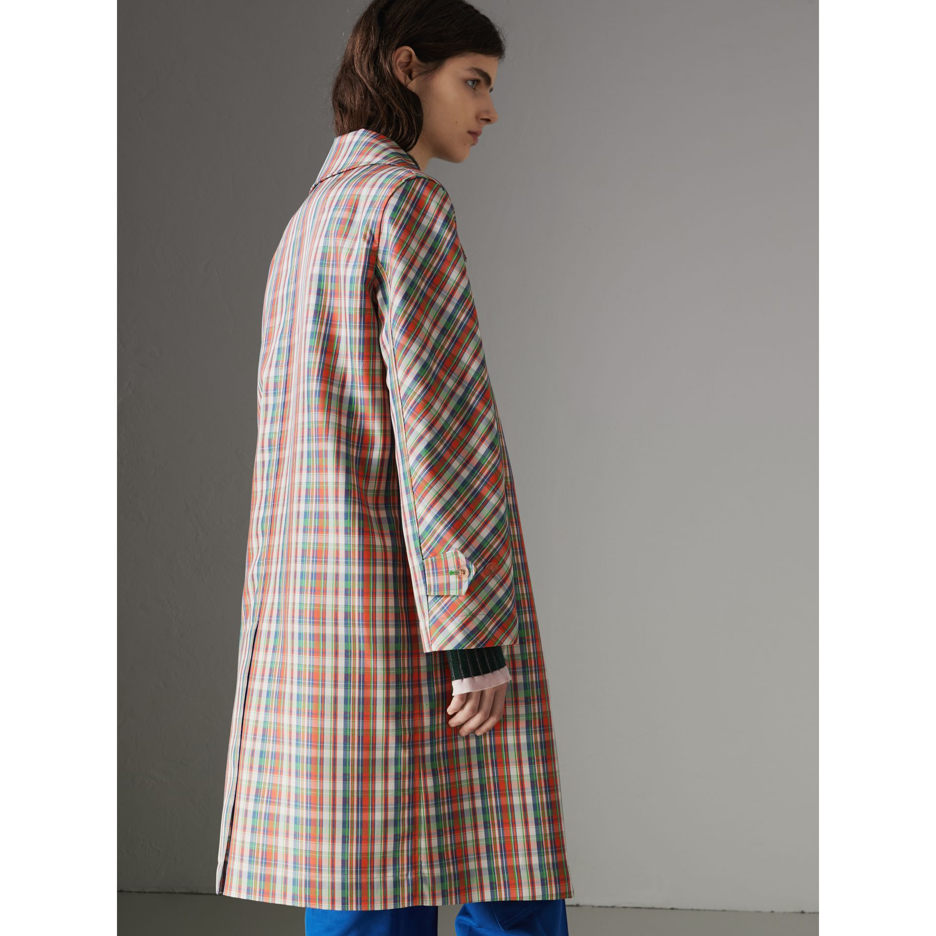 Micro Check Silk Blend Car Coat in Bright Red - Women | Burberry Australia - gallery image 2