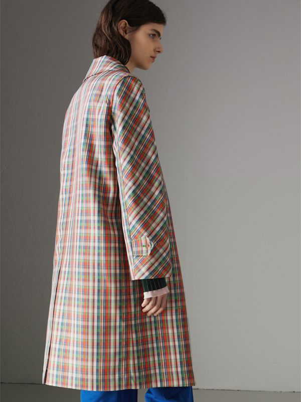 Micro Check Silk Blend Car Coat in Bright Red - Women | Burberry - cell image 2