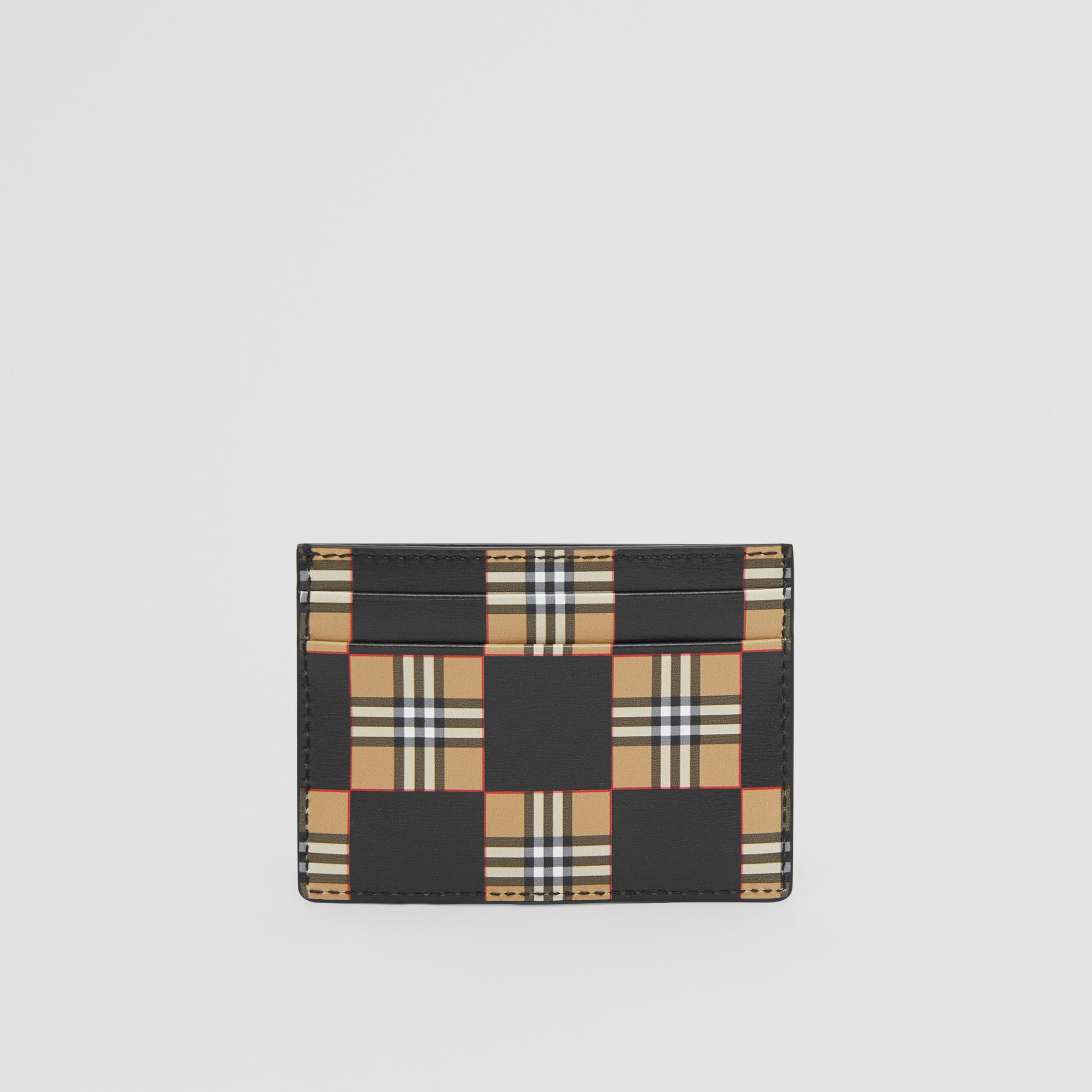 Chequer Print Leather Card Case in Archive Beige/black | Burberry - 3