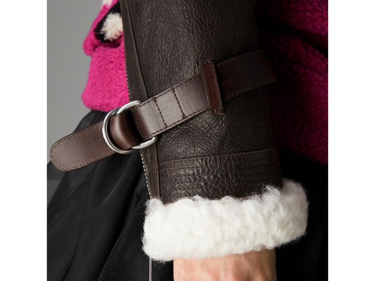Reissued 2010 Shearling Aviator in Chocolate - Women | Burberry - cell image 4