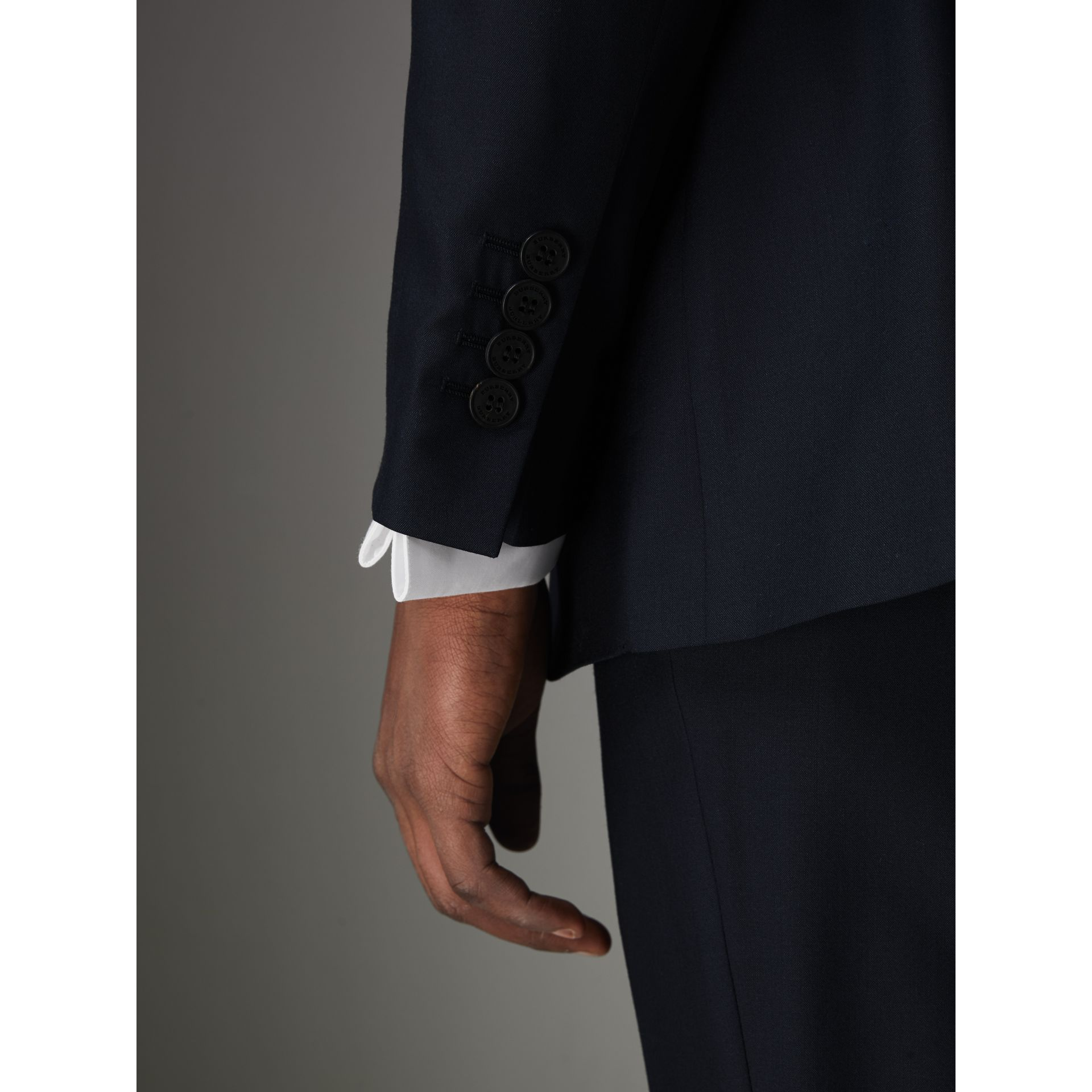 Slim Fit Wool Silk Three-piece Evening Suit in Navy - Men | Burberry - gallery image 5