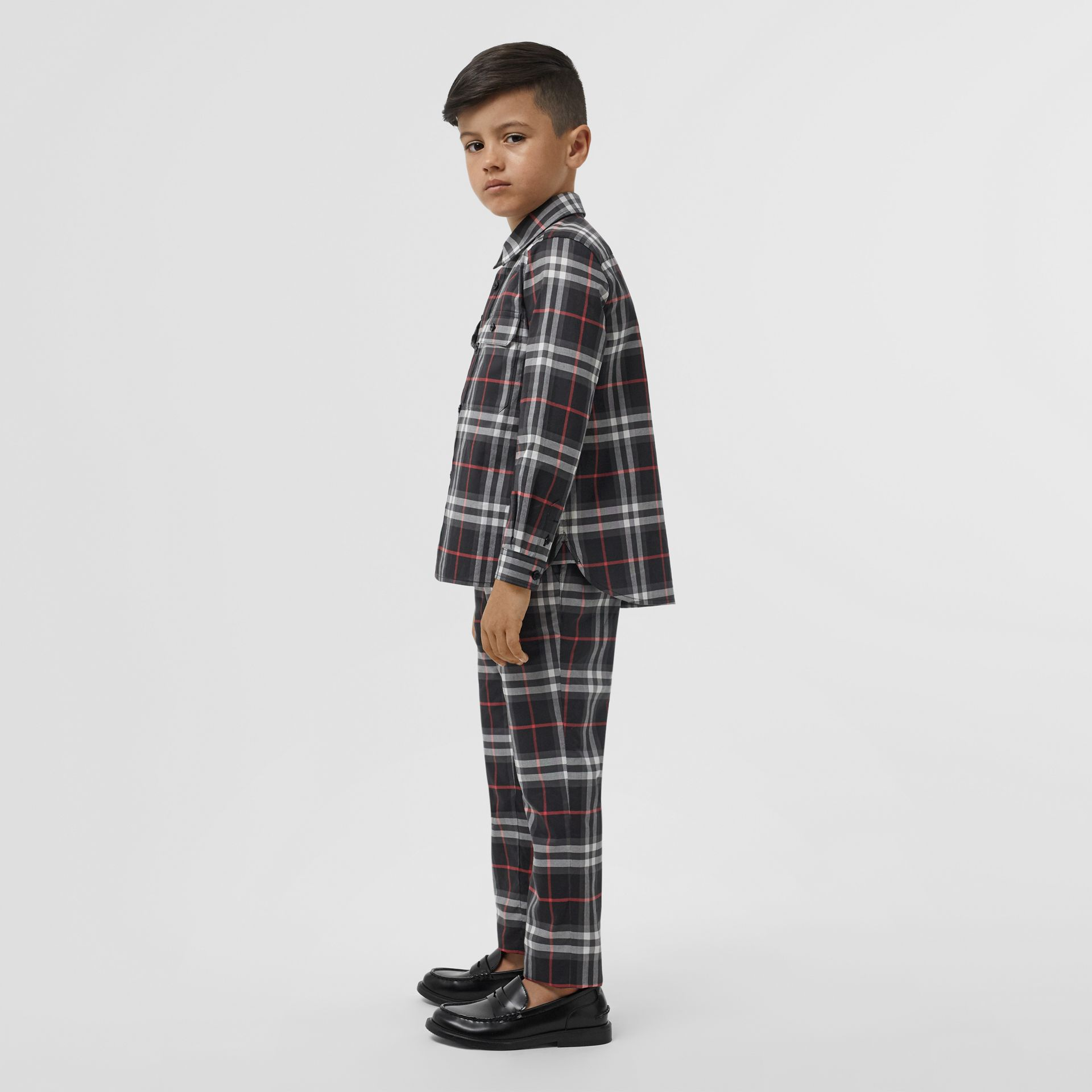 Vintage Check Cotton Shirt in Black | Burberry Singapore - gallery image 2