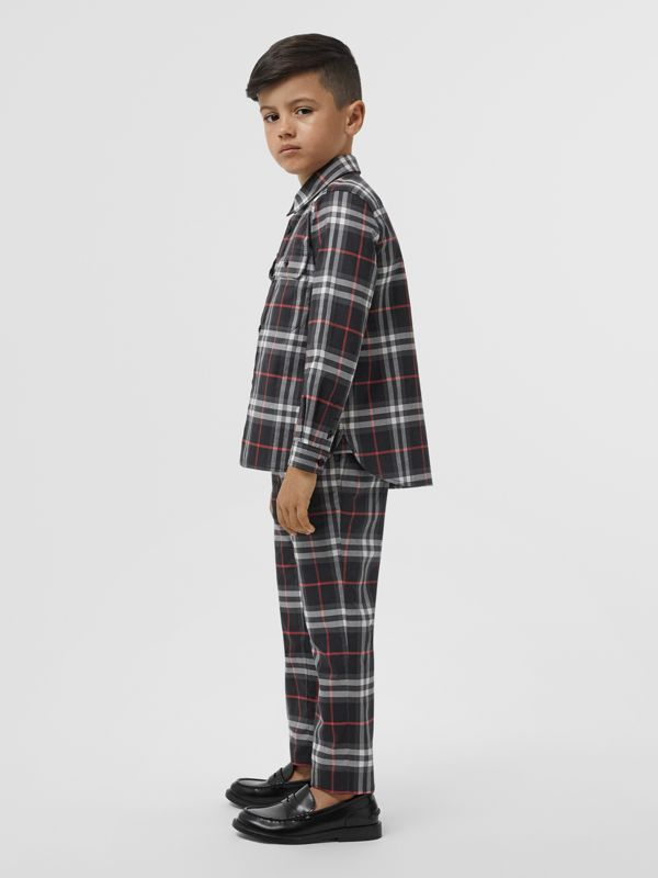 Vintage Check Cotton Shirt in Black | Burberry - cell image 2