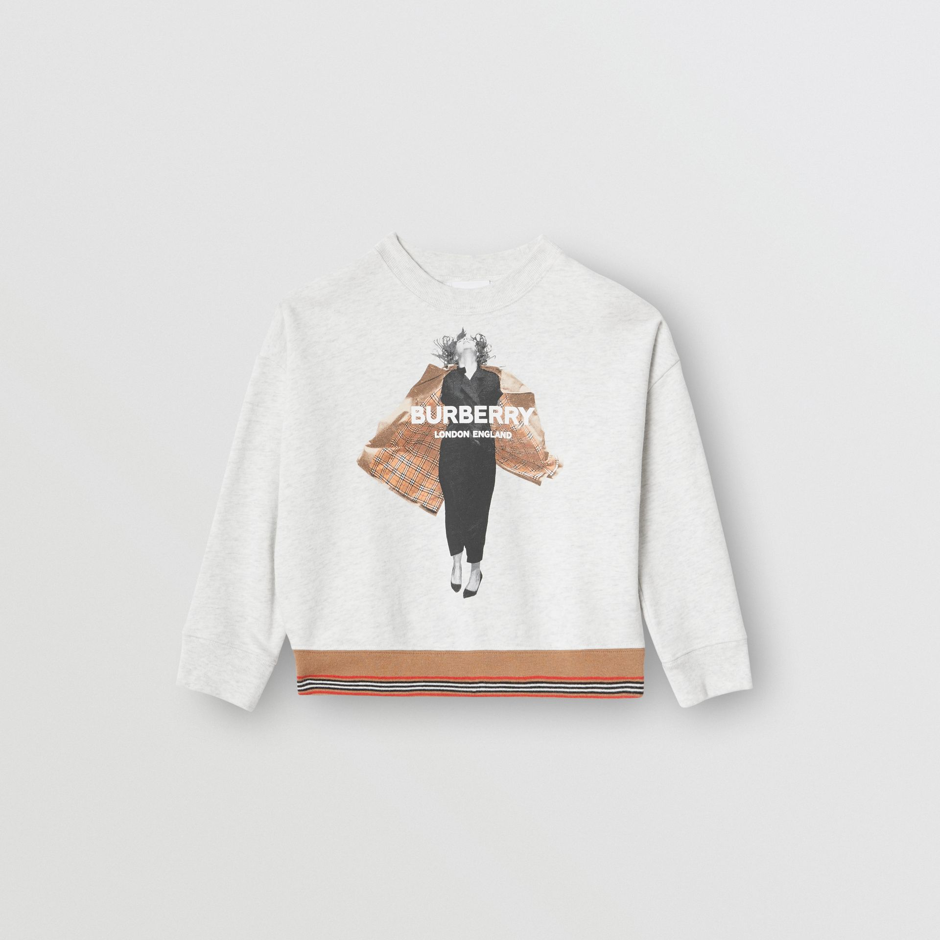 Jump Print Cotton Sweatshirt in White Melange | Burberry - gallery image 0