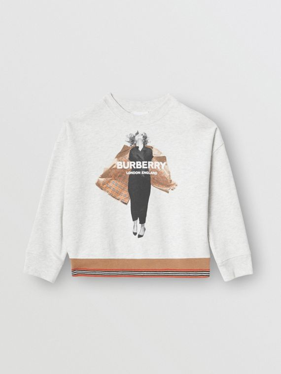 Jump Print Cotton Sweatshirt in White Melange