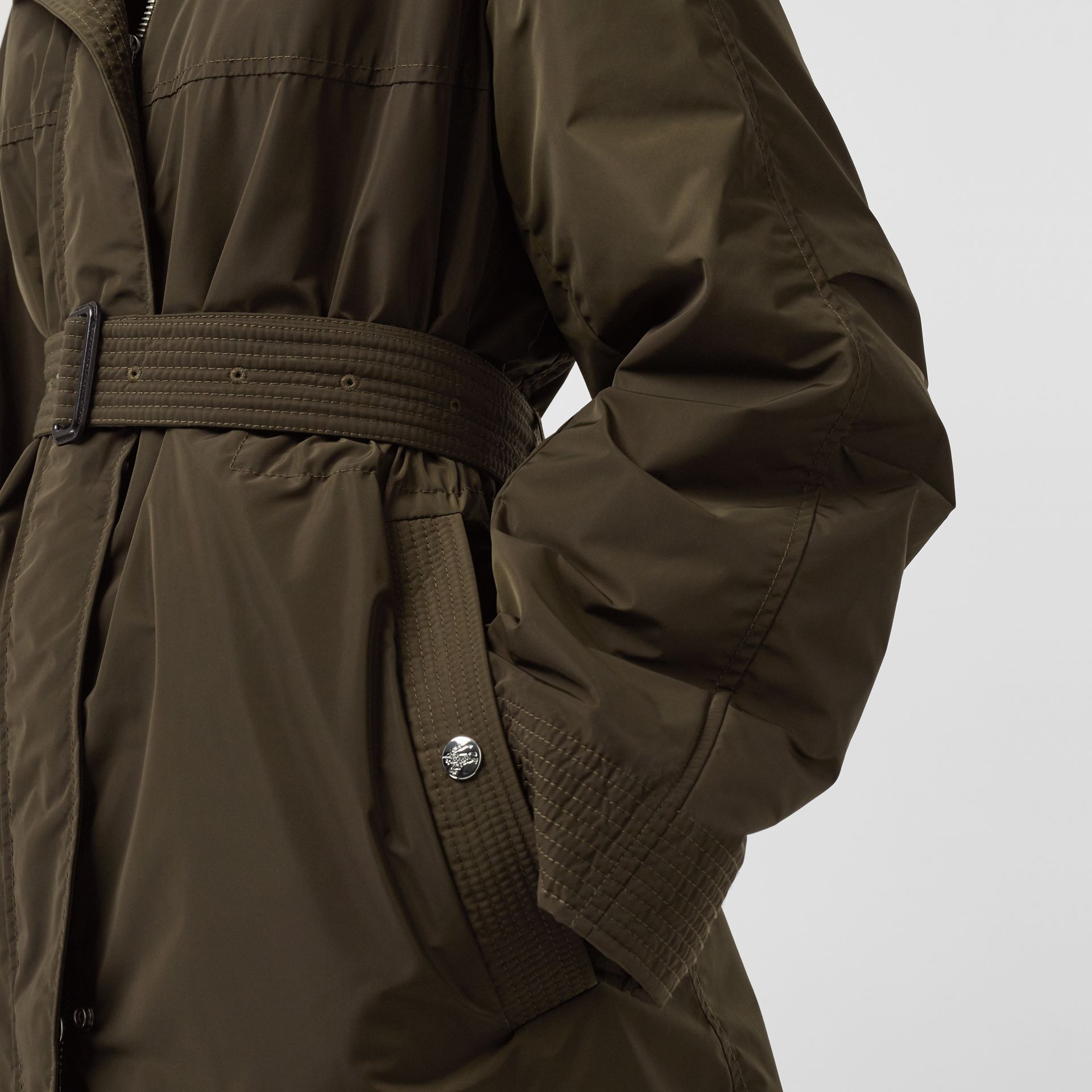 Shape-memory Taffeta Hooded Parka in Dark Olive - Women | Burberry - gallery image 4