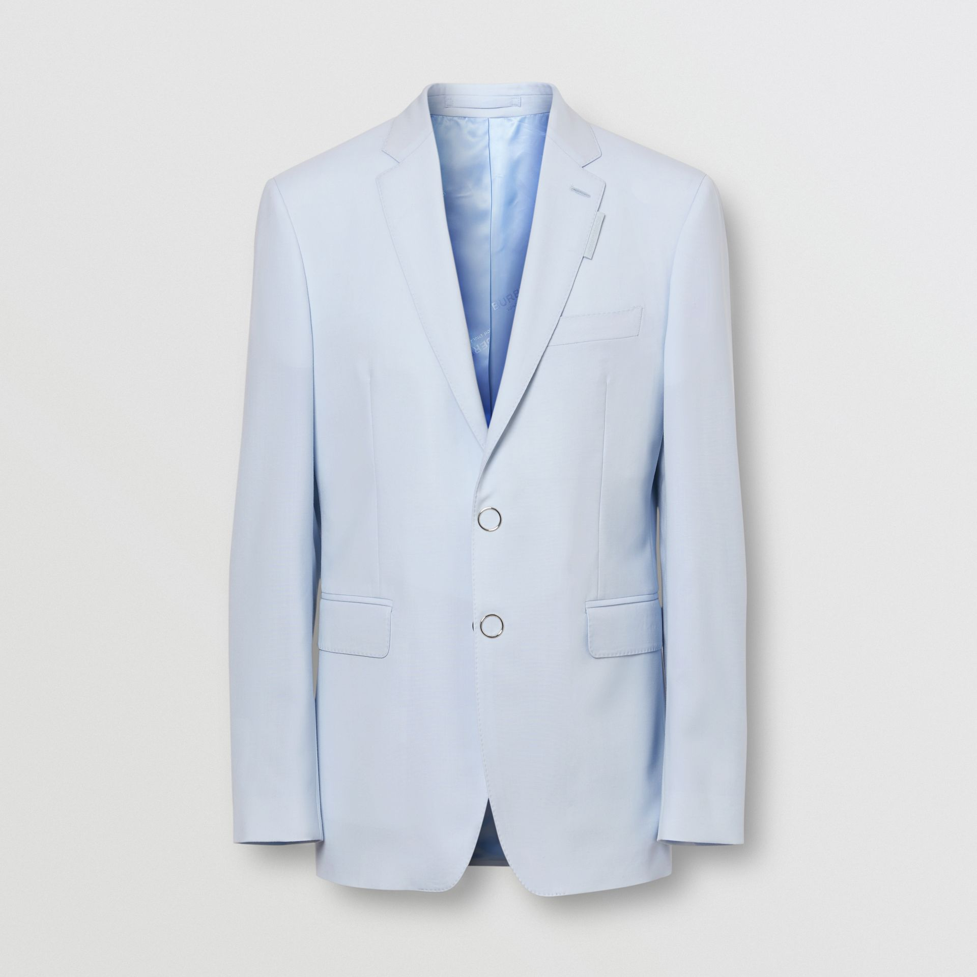 Slim Fit Press-stud Tumbled Wool Tailored Jacket in Pale Blue - Men | Burberry - gallery image 3