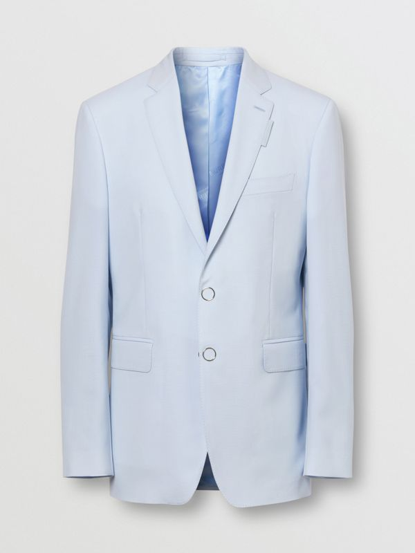 Slim Fit Press-stud Tumbled Wool Tailored Jacket in Pale Blue - Men | Burberry Canada - cell image 3