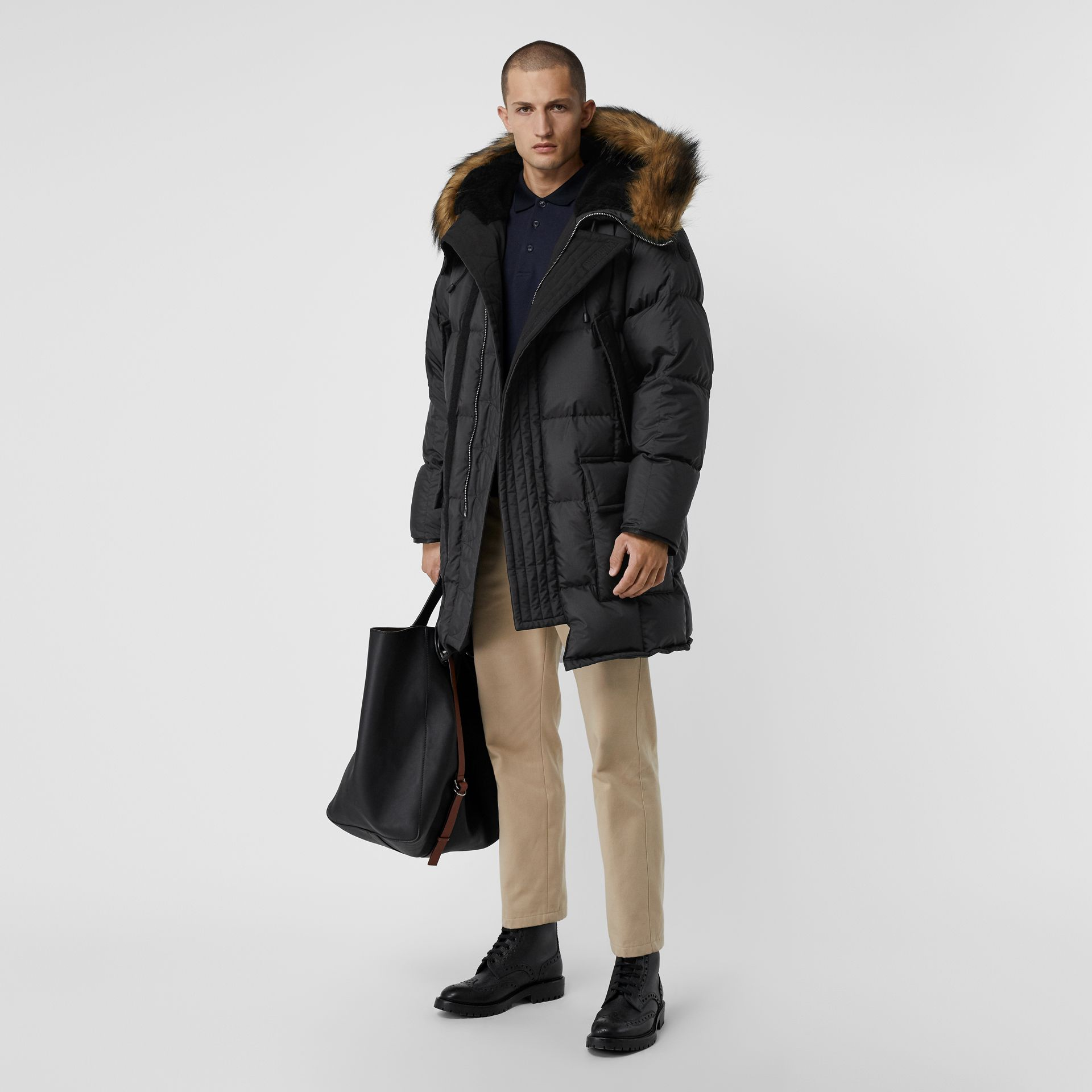 Faux Fur Trim Down-filled Hooded Parka in Black - Men | Burberry - gallery image 0