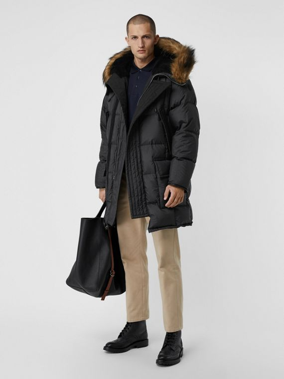 Faux Fur Trim Down-filled Hooded Parka in Black