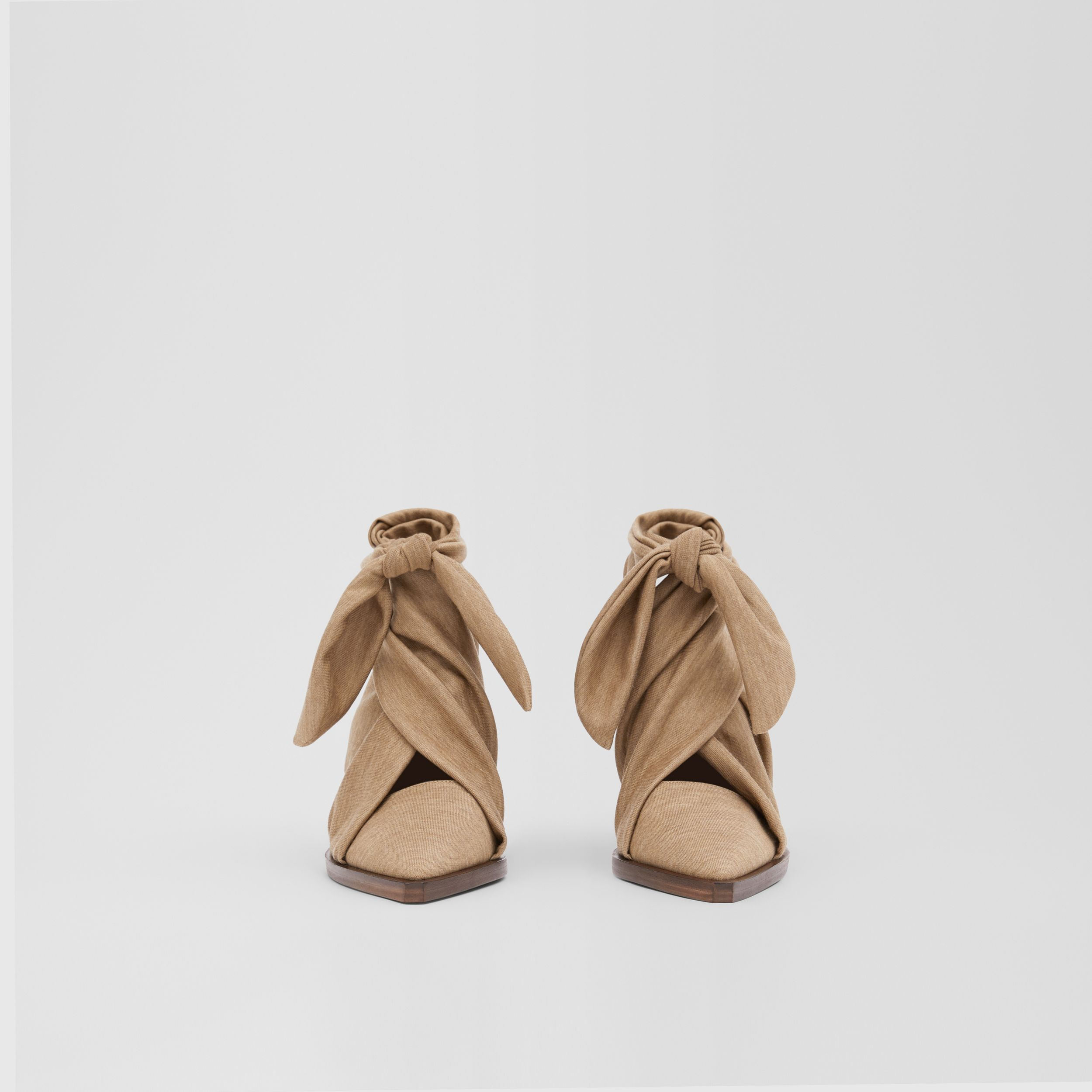 Scarf Tie Detail Technical Wool Point-toe Mules in Pecan Melange - Women | Burberry - 3