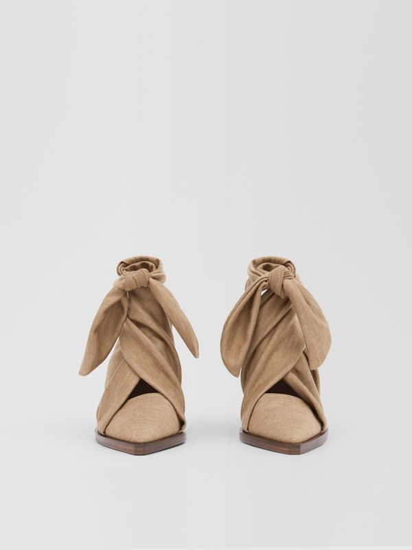 Scarf Tie Detail Technical Wool Point-toe Mules in Pecan Melange - Women | Burberry - cell image 2