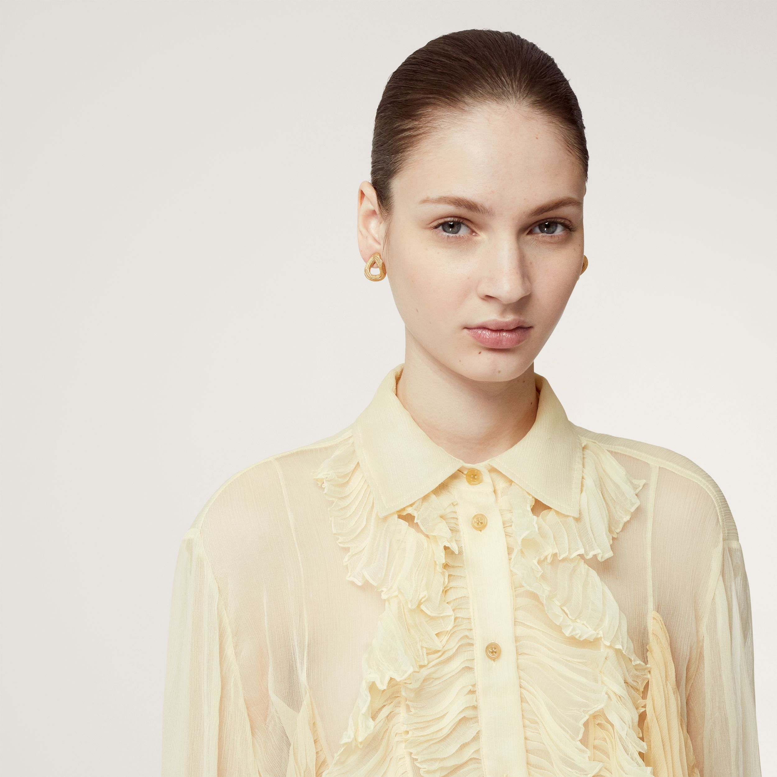Ruffle Detail Crepe De Chine Oversized Blouse in Light Oatmeal - Women | Burberry - 2