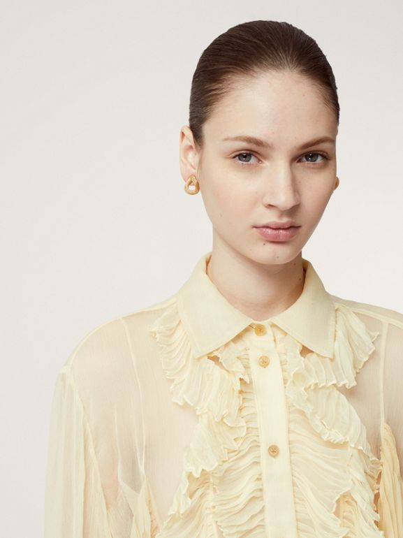 Ruffle Detail Crepe De Chine Oversized Blouse in Light Oatmeal - Women | Burberry - cell image 1