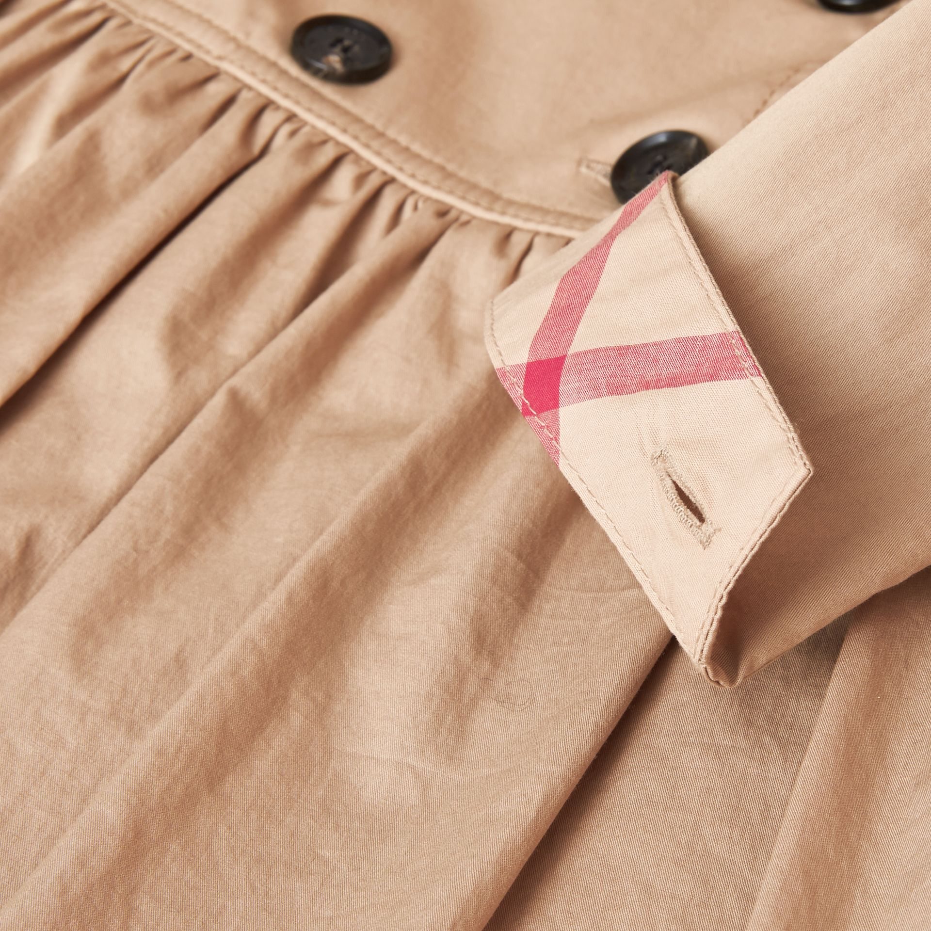 Check Detail Stretch Cotton Trench Dress in Honey - Girl | Burberry - gallery image 1