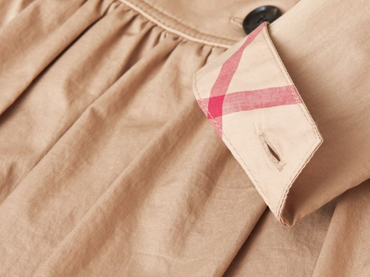 Check Detail Stretch Cotton Trench Dress in Honey - Girl | Burberry - cell image 1
