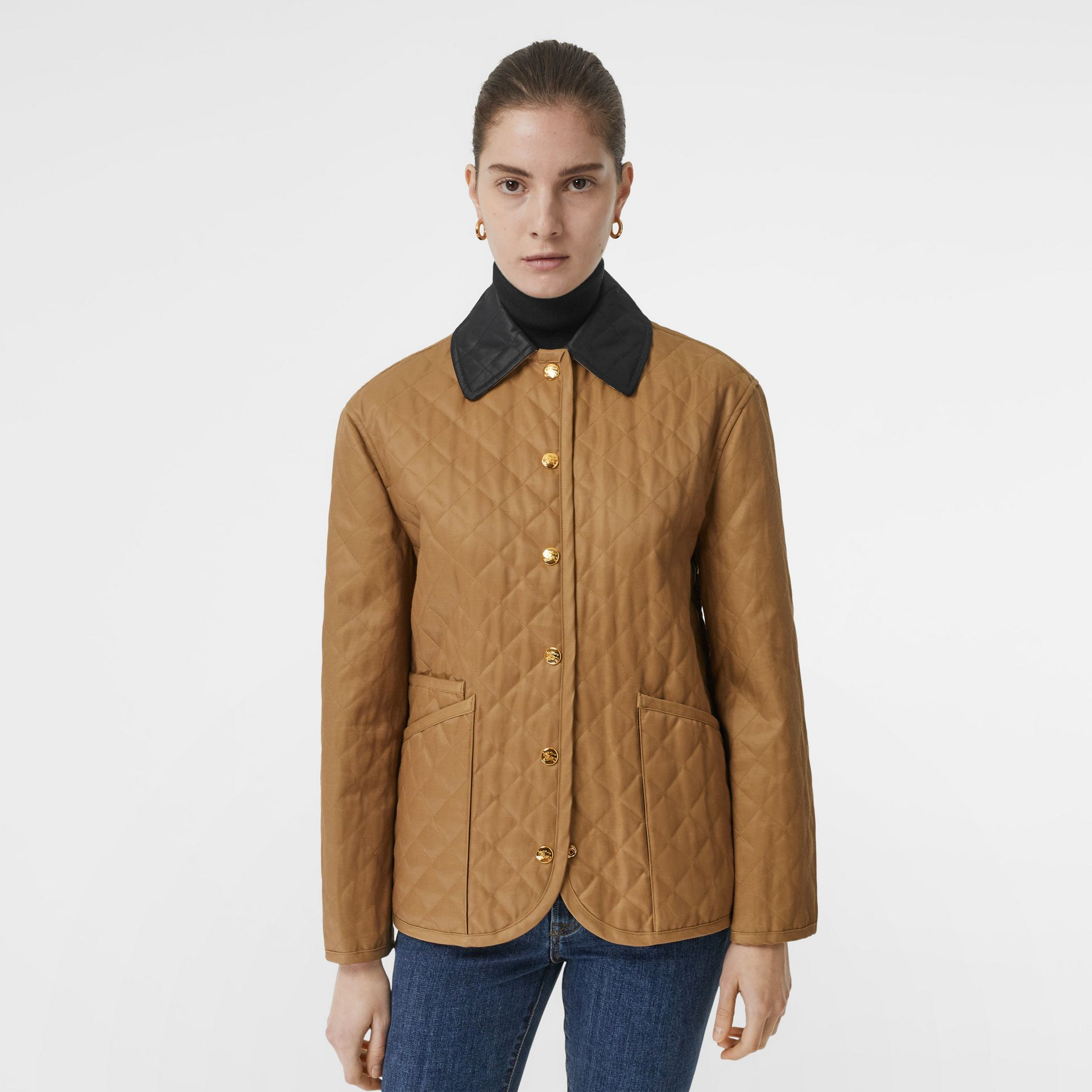 Diamond Quilted Barn Jacket in Camel - Women | Burberry - gallery image 5