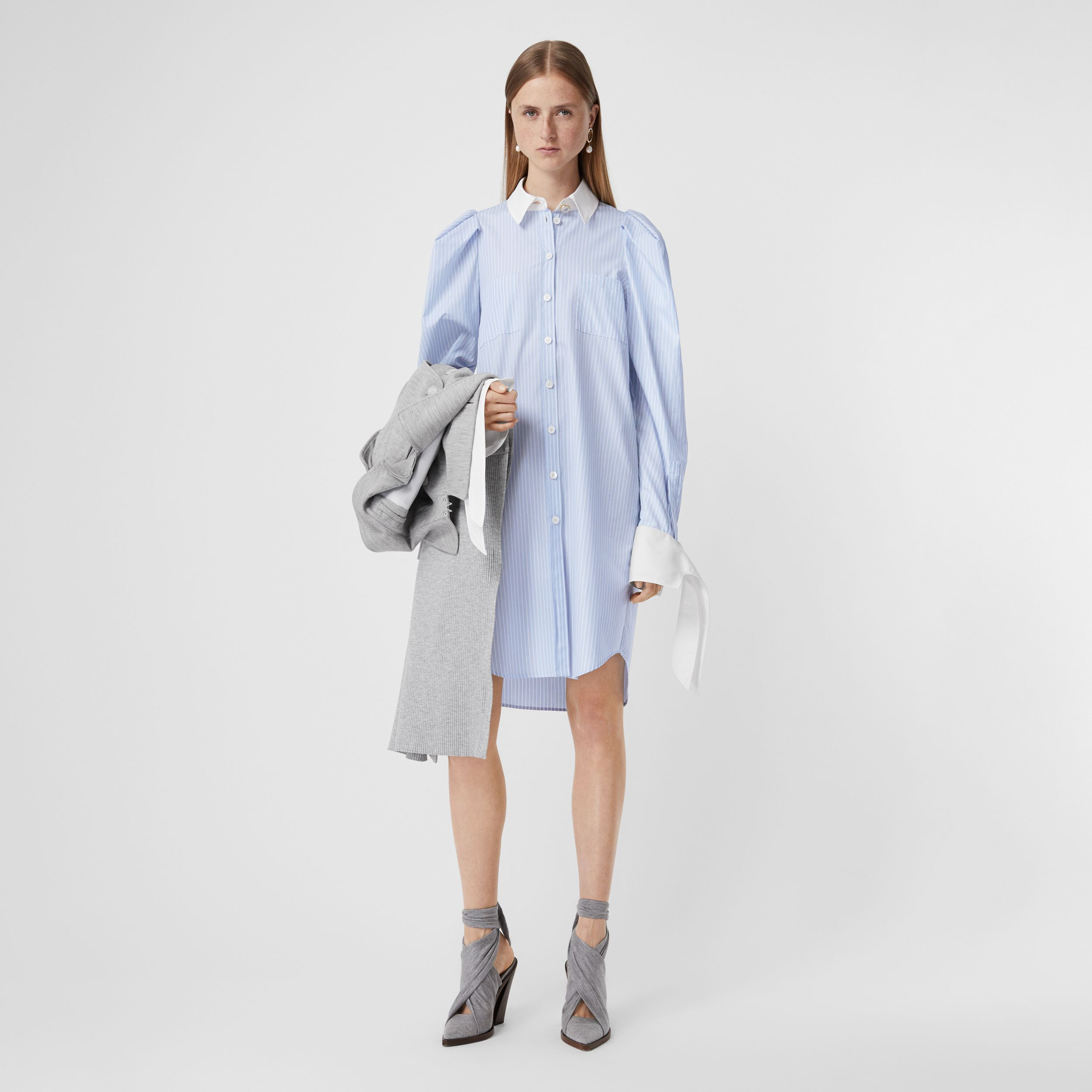 Striped Cotton Poplin Shirt Dress in Pale Blue - Women | Burberry - 1