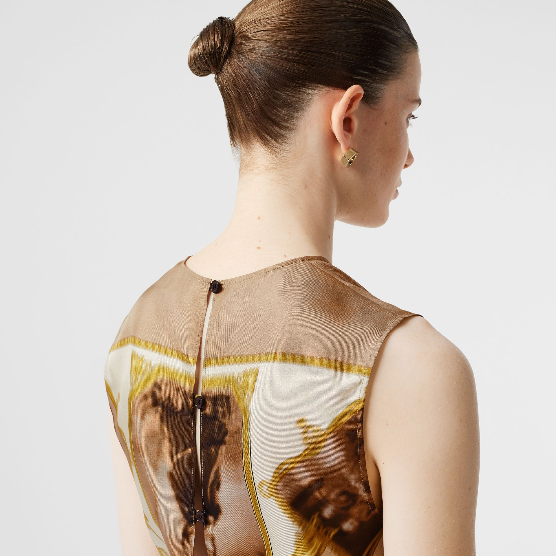 Sleeveless Montage Print Silk Top in Brown - Women | Burberry - gallery image 1