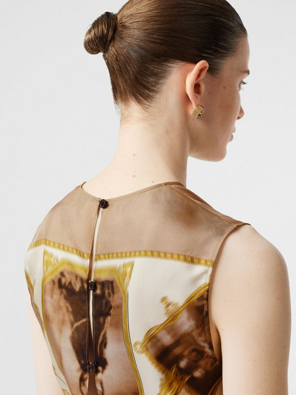 Sleeveless Montage Print Silk Top in Brown - Women | Burberry - cell image 1