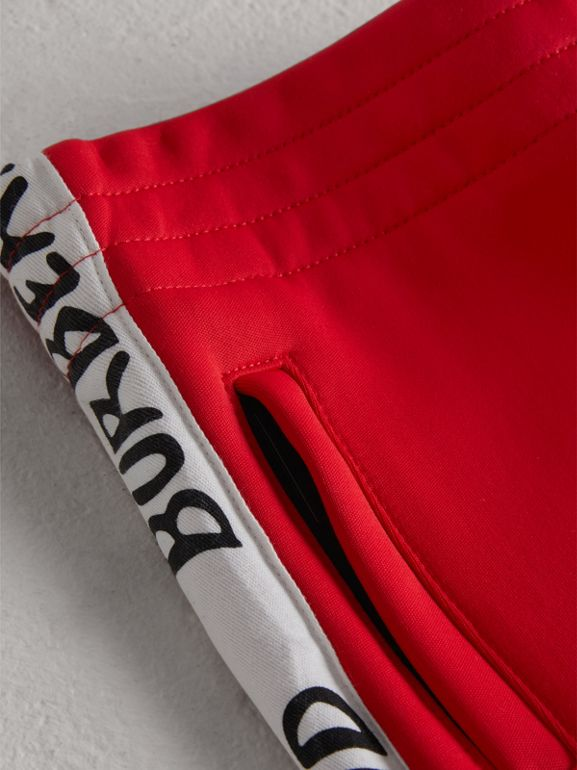 Stripe Detail Jersey Sweatpants in Bright Red - Boy | Burberry Hong Kong - cell image 1