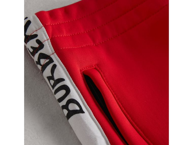 Stripe Detail Jersey Sweatpants in Bright Red - Boy | Burberry - cell image 1