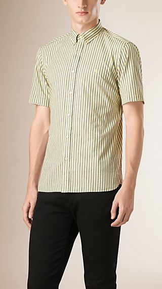 Short-sleeved Striped Cotton Shirt