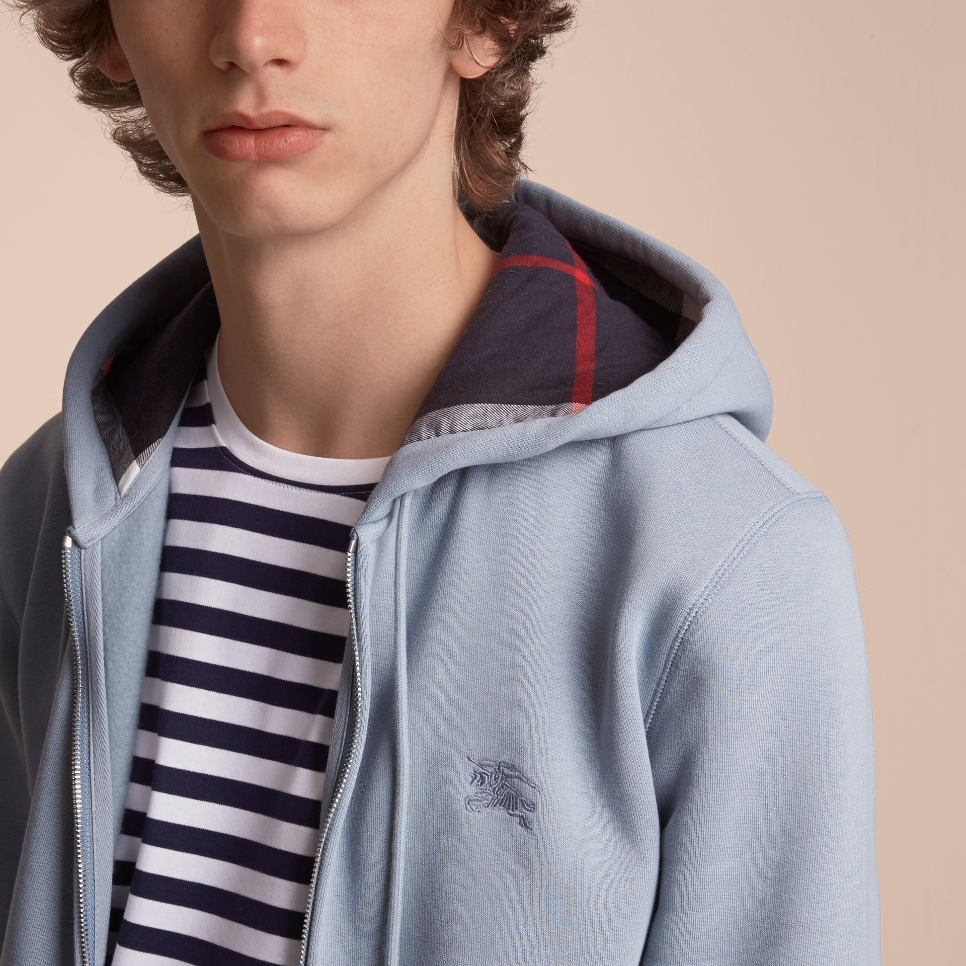 Hooded Cotton Jersey Top in Slate Blue - Men | Burberry - gallery image 5