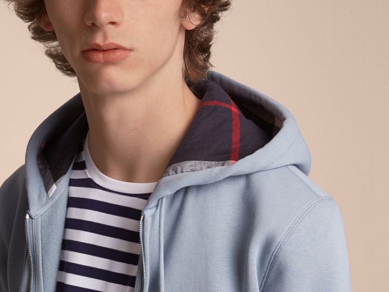 Hooded Cotton Jersey Top in Slate Blue - Men | Burberry - cell image 4