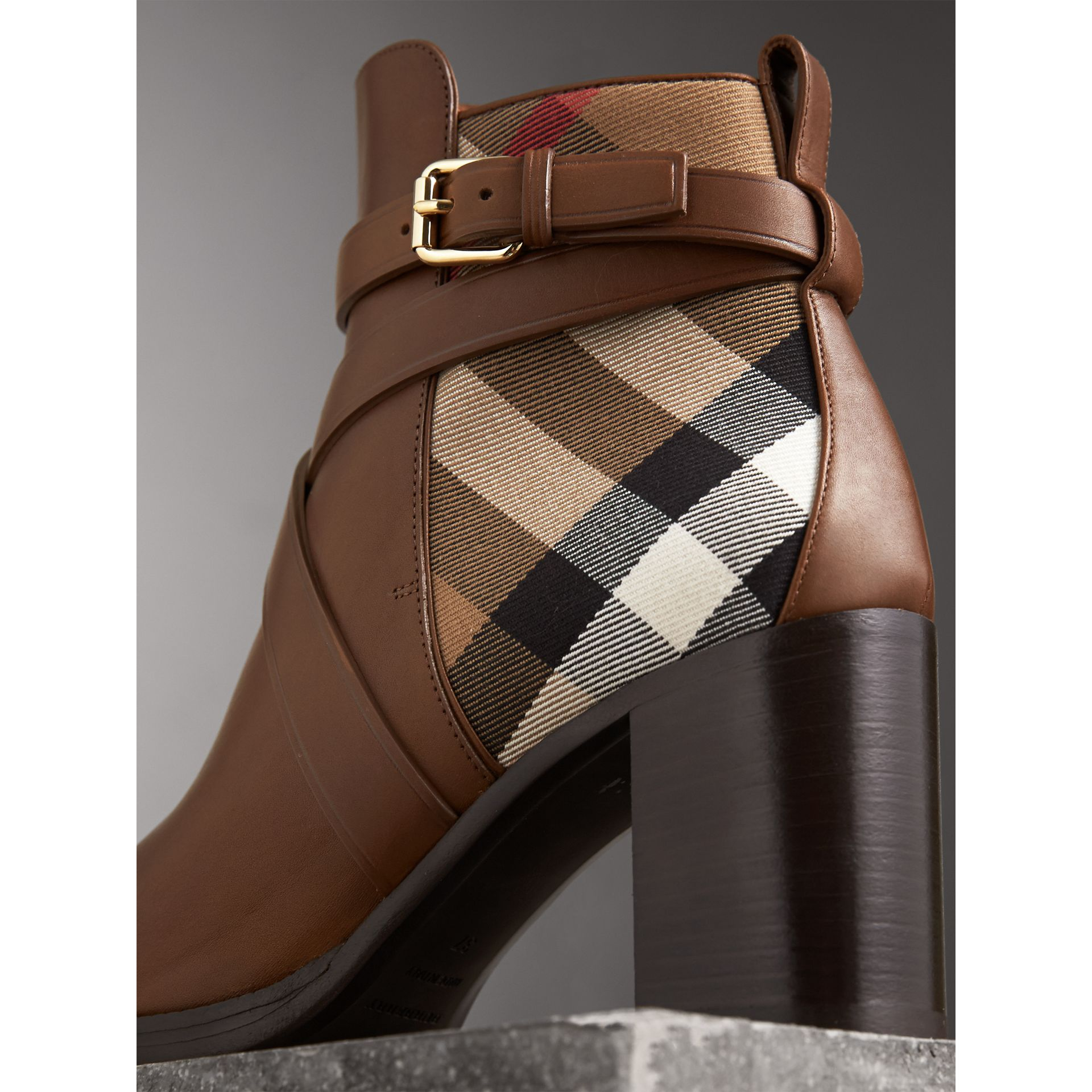 House Check and Leather Ankle Boots in Bright Camel - Women | Burberry United Kingdom - gallery image 1