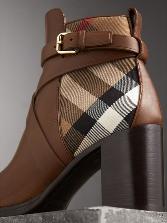 House Check and Leather Ankle Boots in Bright Camel - Women | Burberry - cell image 1