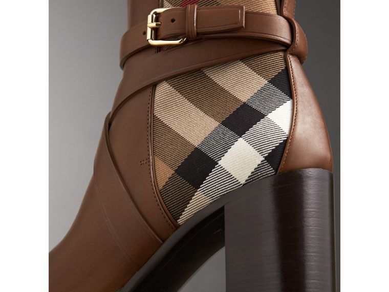 House Check and Leather Ankle Boots in Bright Camel - Women | Burberry United Kingdom - cell image 1