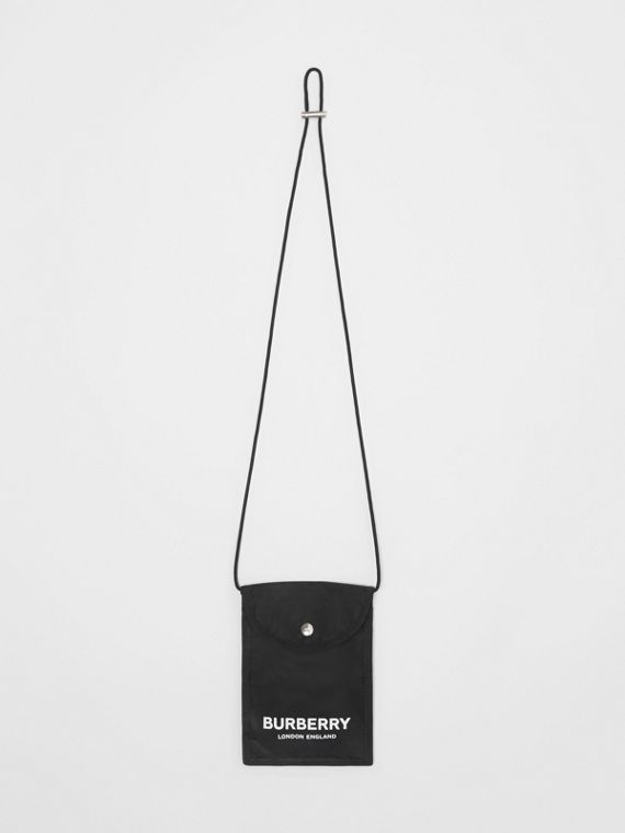 Logo Print Nylon Phone Case Lanyard in Black/white