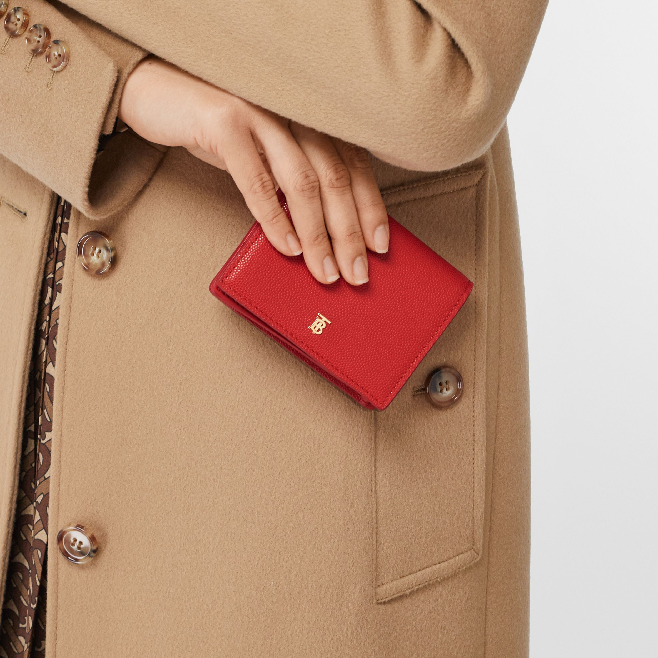 Grainy Leather Card Case with Detachable Strap in Bright Red - Women | Burberry - 3
