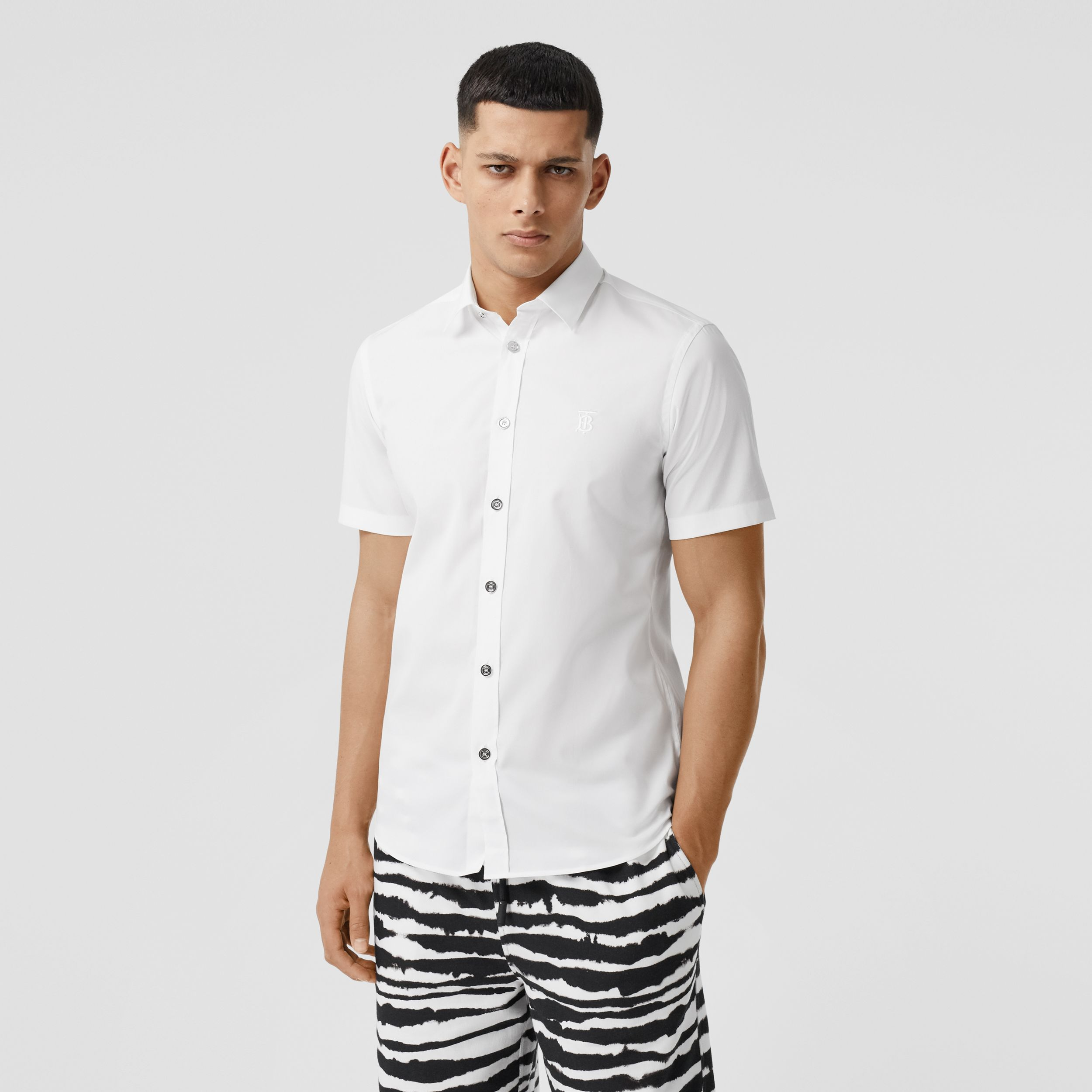 Short-sleeve Monogram Motif Stretch Cotton Shirt in White - Men | Burberry Australia - 1