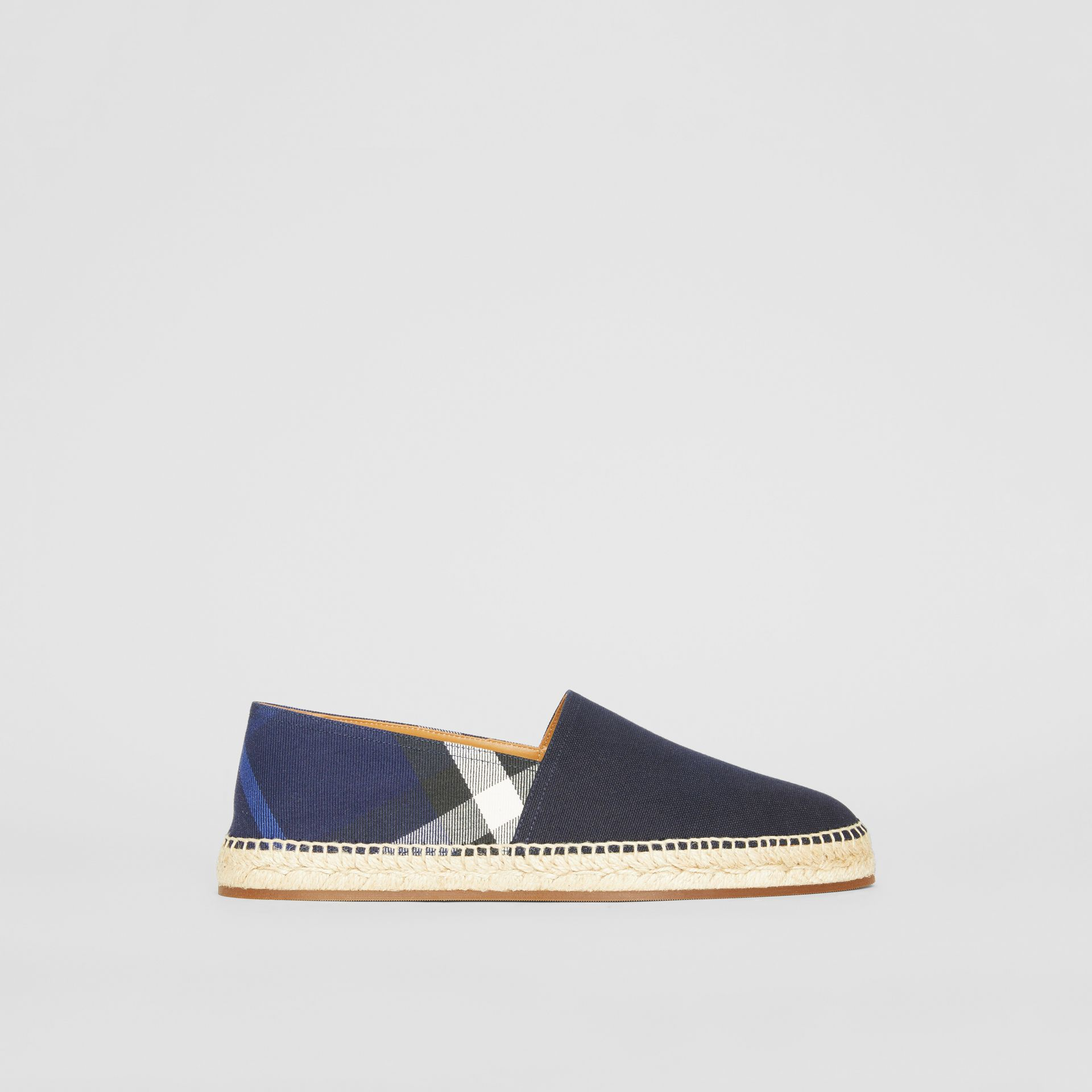 Overdyed House Check and Cotton Canvas Espadrilles in Indigo Blue - Men | Burberry Canada - gallery image 5