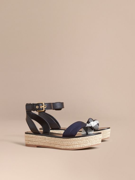 Leather and House Check Espadrille Platform Sandals Navy