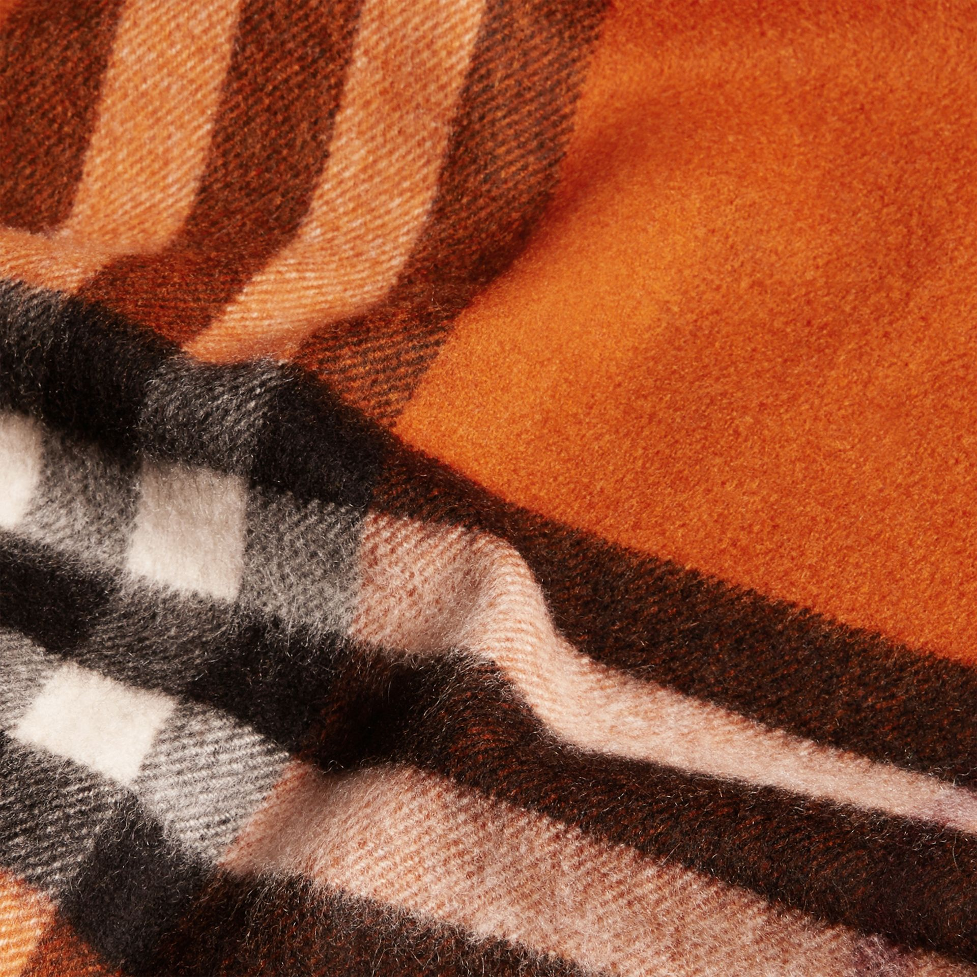 Burnt orange The Classic Cashmere Scarf in Check Burnt Orange - gallery image 5
