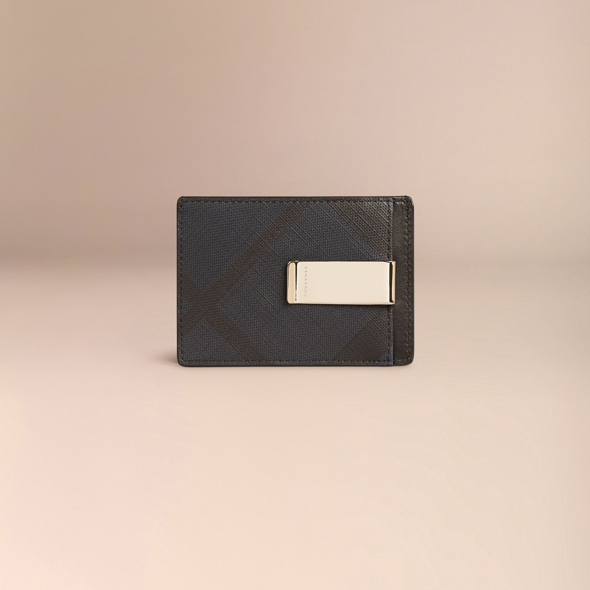 London Check Money Clip Card Case in Navy/black - gallery image 2