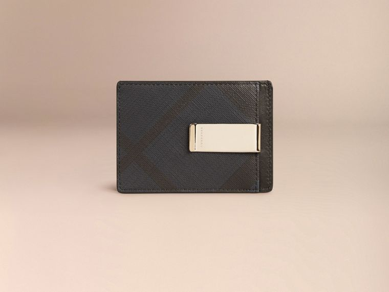 London Check Money Clip Card Case in Navy/black - cell image 1