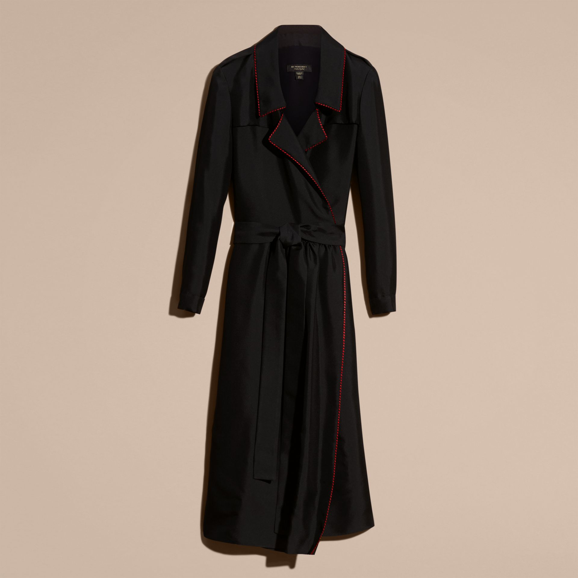 Black Silk Wrap Trench Dress with Military Piping - gallery image 4