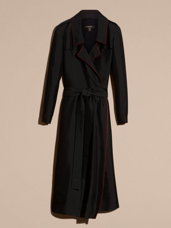 Preto Vestido Trench estilo wrap de seda com debrum militar - cell image 3