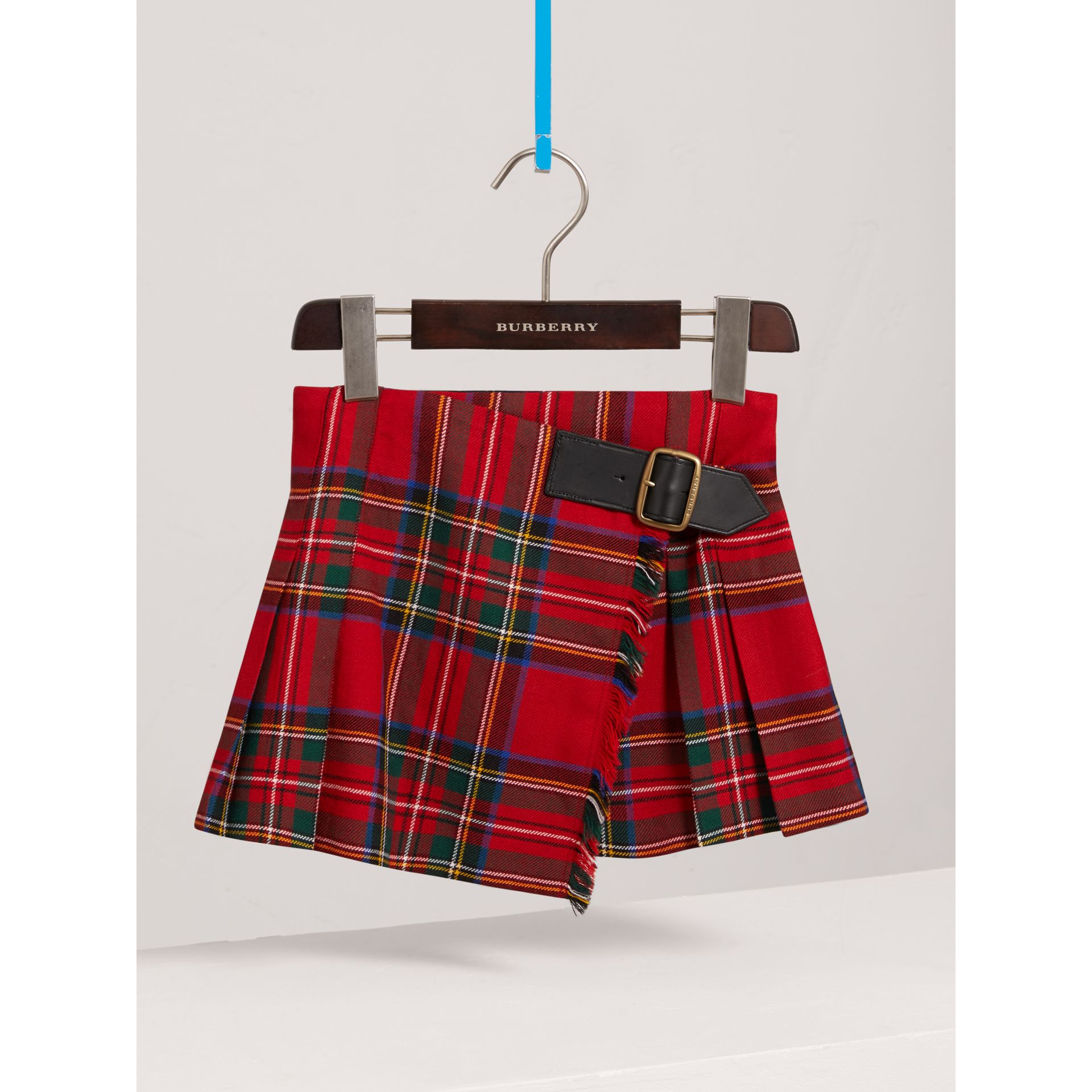 Raw Edge Detail Tartan Wool Kilt in Bright Red - Girl | Burberry - gallery image 0