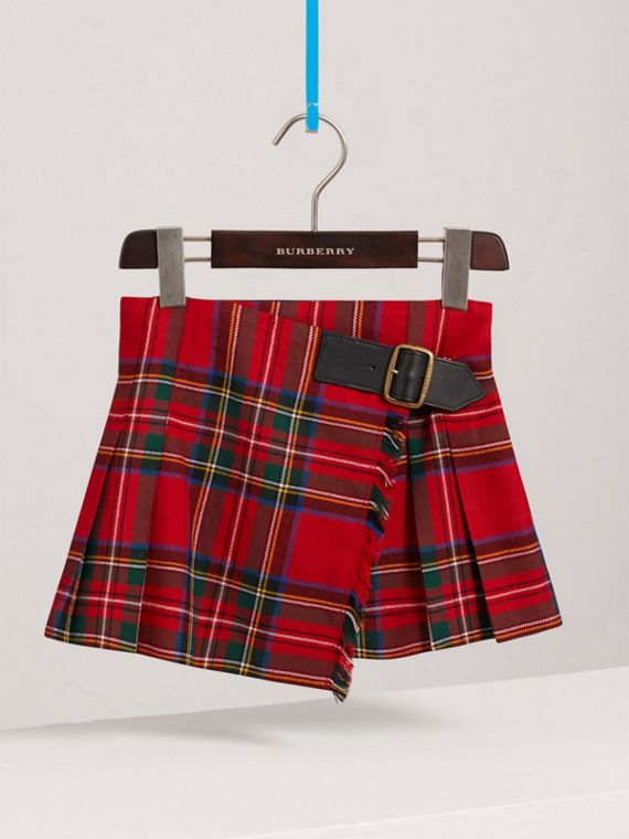 Raw Edge Detail Tartan Wool Kilt in Bright Red