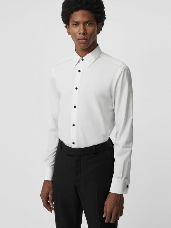 Classic Fit Cotton Poplin Dress Shirt in White