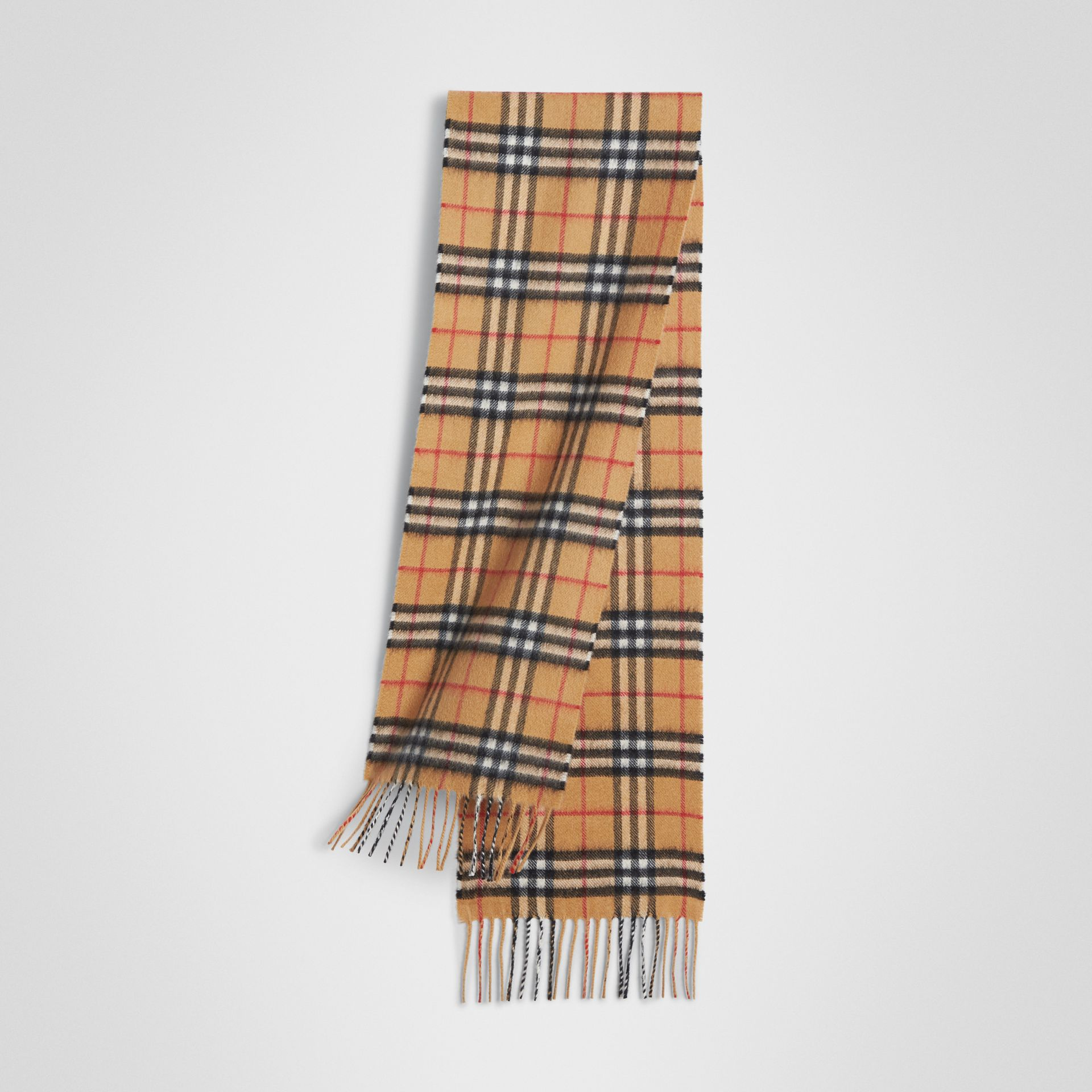 The Mini Classic Vintage Check Cashmere Scarf in Antique Yellow - Children | Burberry - gallery image 0