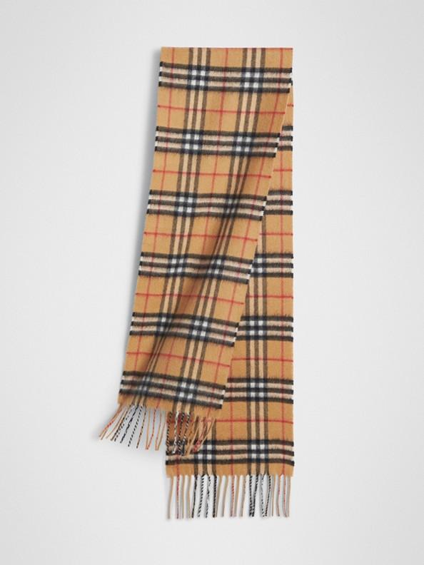 Sciarpa classica mini in cashmere con motivo Vintage check (Giallo Antico)
