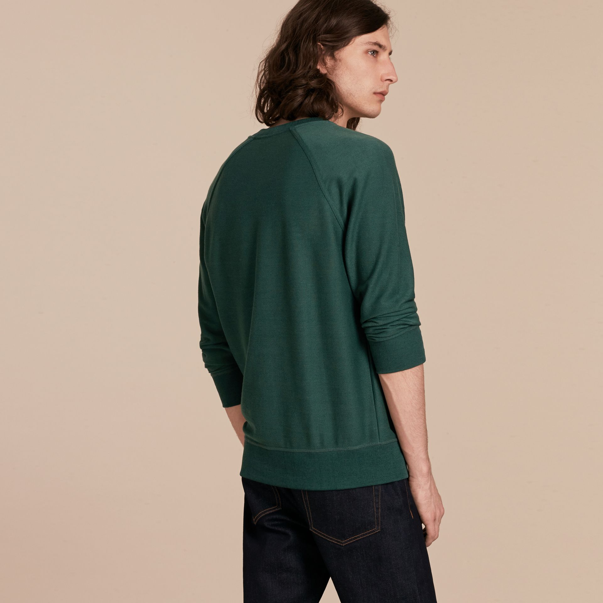Embroidered Motif Cotton-blend Jersey Sweatshirt in Deep Teal - Men | Burberry - gallery image 3
