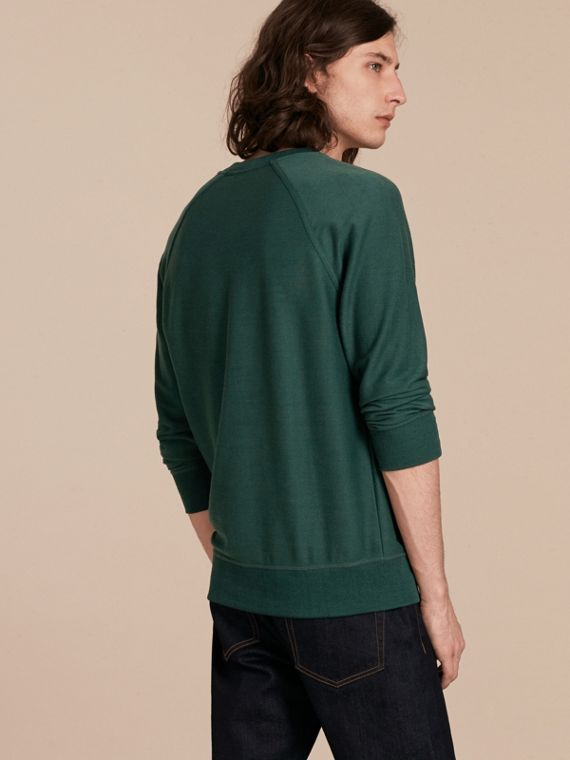 Embroidered Motif Cotton-blend Jersey Sweatshirt in Deep Teal - Men | Burberry - cell image 2